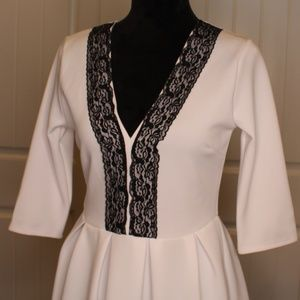 Cute Pure White W/Black Lace Pleated Dress